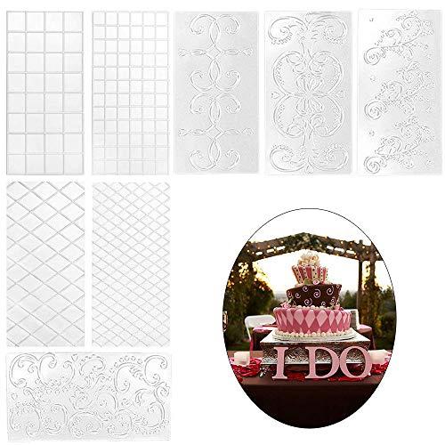 AILANDA 8pcs Fondant Kuchen Schablone Prägematte Strukturmatte für Kuchen Tortendeko DIY Gittermuster Transparent