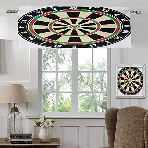 """Window Curtain Valance Sports Breathable and Airy Short Curtains Dart Board Numbers Sports Accuracy Precision Target Leisure Time Graphic for Basement/Loft/Dorm Rod Pocket Panel 54"""" W x 18"""" L"""