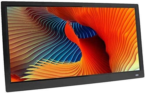 GAOword Schermo TFT da 20 Pollici HD LED Retroilluminazione 1366 * 768 Cornice Fotografica Digitale Album Elettronico Immagine Musica Ultra-Sottile Widescreen A Pieno Formato,Black,Nero