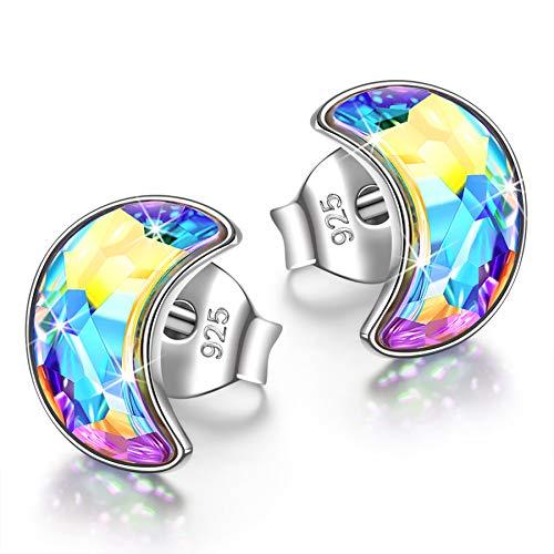 Kami Idea - Viertel Mond - Ohrringe für Frauen, 925 Sterling Silber, Aurore Boreale Kristalle von Österreich, Vitrail Light Ohrringe mit Exquisiter Geschenkbox, Geschenk für Sie