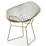 ApexStore Wire Mesh Bertoia Style Diamond Chair in Gold Finish