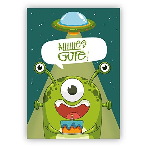 Mega coole verjaardagskaart met buitenaardse monster en Ufo: Allllles Gute! • direct verzenden met uw tekst als inlegger • mooie wenskaart met envelop zakelijk & privé