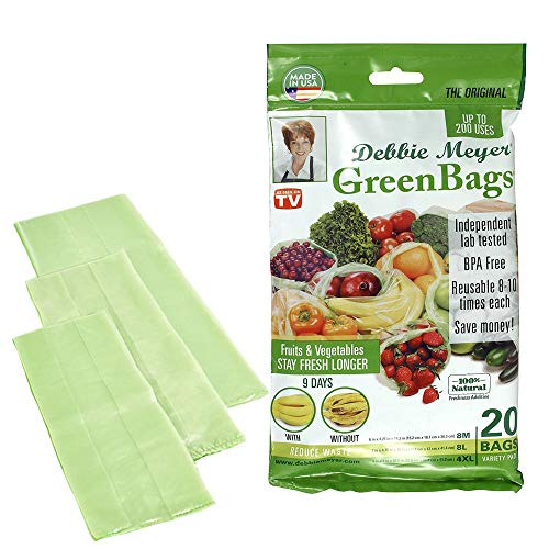 Best Price Debbie Meyer GreenBags - Reusable BPA Free Food Saver Storage Bags, Keep Fruits and Veget...