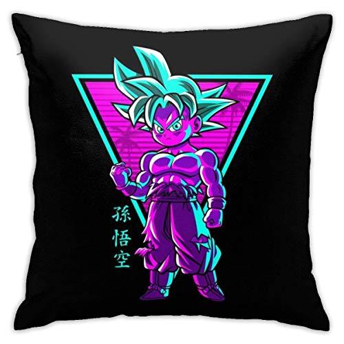 WH-CLA Couch Cushions Dragon Ball Z Retro Chibi Goku Sofá De Regalo Decorativo para El Hogar Funda De Almohada Personalizada Sofá De La Sala De Estar Cojines De Sofá De Colores Anime Fund