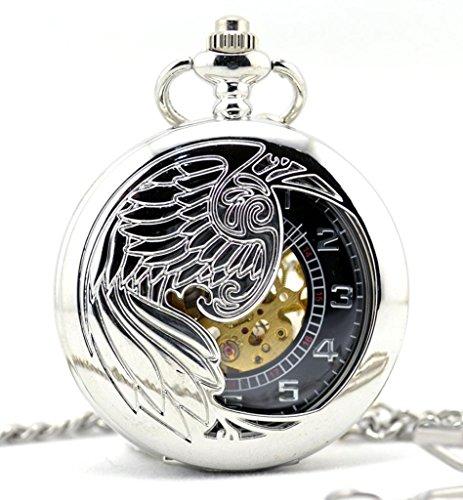 Feilok Steampunk Vintage Sliver Arabische cijfers Hand Wind Mechanische Pocket Horloge Hanger Ketting Witte Engel Hoge Kwaliteit
