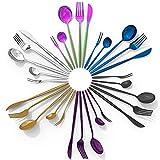 DAONG cubiertos combinadas Set 30 piezas,juego cubiertos de acero inoxidable Set servicio para 6 personas,cuchillos,cucharas,tenedores,cucharas de café,tenedores para pasteles,apto para lavavajillas