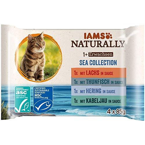 Iams Naturally Katze Erwachsen See Mix 4x85g, 340 g