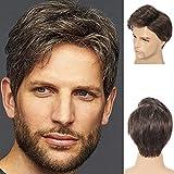 Peluca corta para hombres Peluca rizada en capas marrón Pel