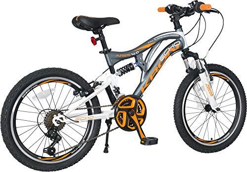 KRON ARES 4.0 Vollgefedertes Kinder Mountainbike 20 Zoll ab 6, 7, 8, 9 Jahre | 21 Gang Shimano Kettenschaltung mit V-Bremse | Kinderfahrrad 14 Zoll Rahmen Vollfederung | Grau Orange - 3