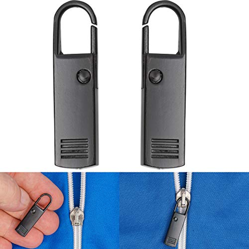 Lengüeta de Metal de Cremallera para Reparar, Paquete de 2 Reemplazo Negro...
