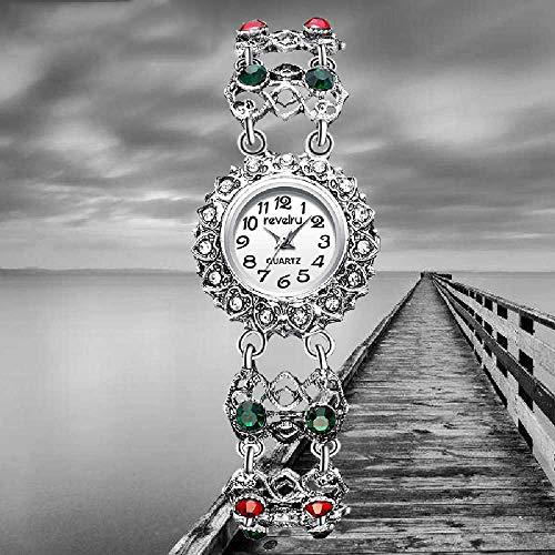 LYAO Relojes De Marca para Mujer Reloj De Pulsera De Plata Antiguo Reloj De Pulsera Casual para Mujer Rhinestone Simple Jewelry R1095