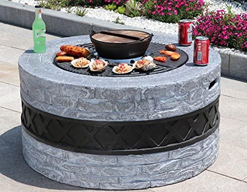 Chimenea circular al aire libre, acabado de piedra natural, mesa de fuego al aire libre de 35,4 pulgadas para patio trasero, jardín, hogar