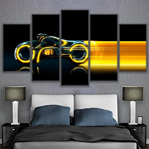 WFUBY Five paintings HD Prints Canvas Wall Art Poster Living Room Decor 5 Pieces Tron Large Motorcycle Movie Pictures (no frame)-40x60x2 40x80x2 40x100cm