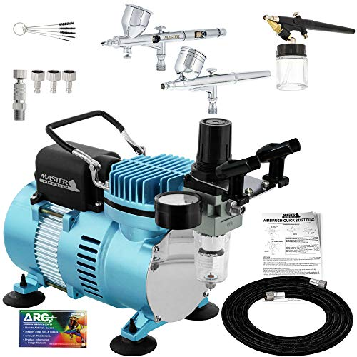 Master Airbrush Cool Runner II Dual Fan Air Compressor Professional Fine Detail Control System Kit with 3 Airbrushes, 0.2, 0.3 mm Gravity and Siphon Feed - Hose Quick Release Set, Holder, How-To Guide