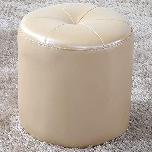 ZCRR Taburete otomano para el hogar, con tapizado en piel sintética, para sofá, taburete de maquillaje, 32 x 35 cm, color beige