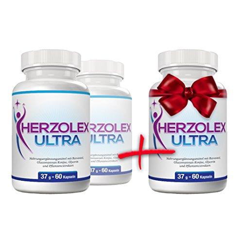 Herzolex Ultra - Schlankheitspille für effektives Abnehmen| Kaufe 2 Flaschen und erhalte 1 gratis dazu | (3 Flaschen) | Lieferung nach DE-AT nur 3 Tage (mit DPD)