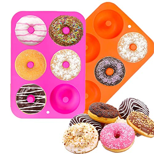 Arozk 2 Pack Donut Baking Pan Silicone Nonstick Donut Mold Doughnuts Baking Pans for six Full-Size Donuts, Cake Biscuit Bagels, Heat Resistant, BPA FREE and Dishwasher Safe (Orange, Rose Red)