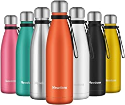 Newdora Insulated Water Bottle 500ml Stainless Steel Water Bottle BPA Free Double-Walled Vacuum Flask for Sports 12 Hours Hot/24 Hours Cold with Cleaning Brush(Orange)