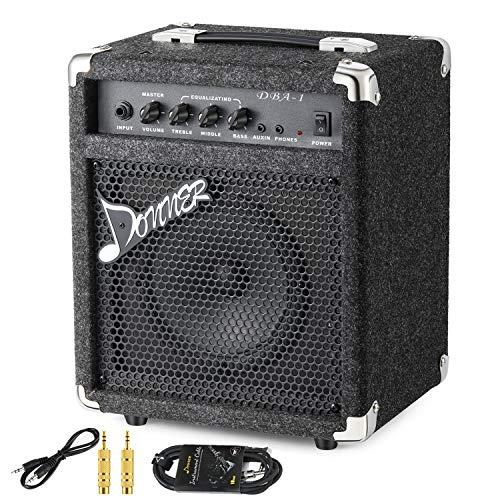 Donner Bass Amp 15W Bass Guitar Amplifier DBA-1 Electric Practice Bass Combo AMP...