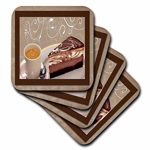 3dRose LLC Untersetzer für Kaffee und Käsekuchen, weich, 4 Stück