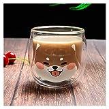 200ML Carino Shiba Inu Tazze Bicchiere Da Colazione Tazza Da Latte Tazza Da Caffè Animale Creativa Tazze Da Succo Da Donna (Color : Shiba Inu Double Cup)
