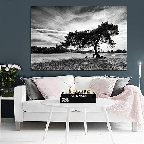 Nordic Black White Cloud Landscape Black Tree Poster and Prints Canvas Painting Wall Picture for Living Room Sin marco