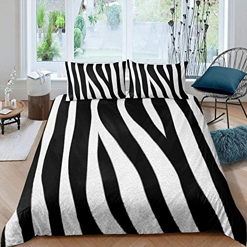 Fadaseo Bedding Sets 3D Black And White Zebra Stripes Patternmicrofiber Men Teen Boys Kids Duvet Cover And Pillowcases (220 X 230 Cm)