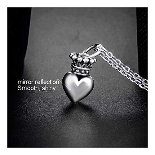 WXIANG Joyas Mujer Collar de Mujer 925 Colgante de Plata esterlina Corona Forma de corazón Accesorios de joyería de Moda Joyería Joyas para Mujer (tamaño : Silver Chain 50cm)