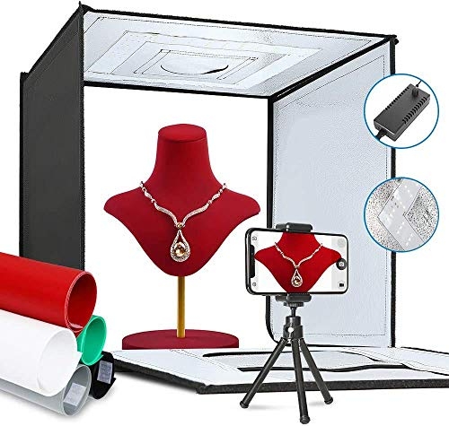 ShowMaven Photo Light Box, Portable Folding Photography Studio Box Booth Shooting Tent Kit with 5 Backdrops & Phone Holder & Tripod Stand for Photography