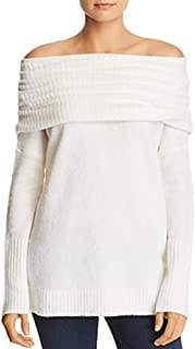 French Connection Flossy Off-The-Shoulder Banded Overlay Sweater White Small