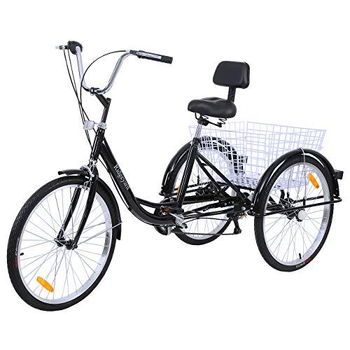 MuGuang Dreirad Für Erwachsene 24 Zoll 7 Geschwindigkeit 3 Rad Fahrrad Dreirad Pedal mit Warenkorb (Schwarz)