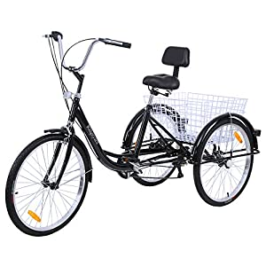 Comfort Bikes MuGuang Adult Tricycles 24 Inches 7 Speed 3 Wheel Upgraded Fender Adult Trike Bike Cycling Pedal with Shopping Basket…