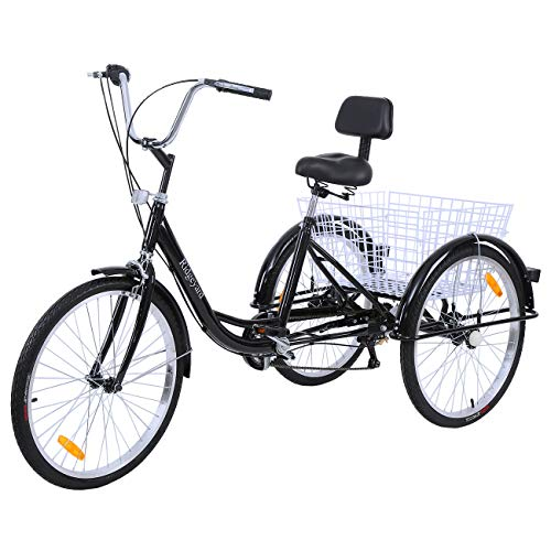 MuGuang Adult Tricycles 24 Inches 7 Speed 3 Wheel Upgraded Fender Adult Trike...