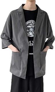 MogogNMen Turn Down Collar Thin Solid UPF50+ Casual 3/4 Sleeve Sports Blazer Coat