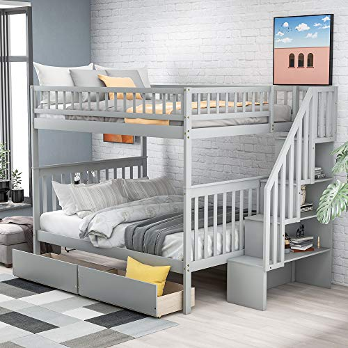 Famgizmo Solid Wood Full Over Full Stairway Bunk Bed | with Twin Size Trundle Storage Guard Rail Staircases Drawers | for Kids Adults Home Family Party | No Spring Box Needed | White