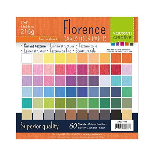 Vaessen Creative Florence Scrapbook-Papier 216 g 6x6-x60 Blatt-Multipack, Paper, multicoulor, 15 x 15 x 0.8 cm