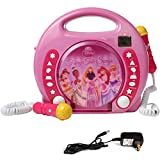 IQ Toys Anti Skip CD-USB-SD Player with 2 Microphones and AC Adapter Portable Kids Karaoke Machine Sing Along Music Player, Hot Pink. CD Not Included