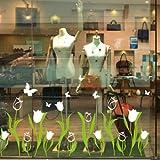 ZNXZZ Pegatina de Ventana Flores Tulipanes Blancos Mariposas vinilos Adhesivos para Salón de Cristal Tienda de decoración