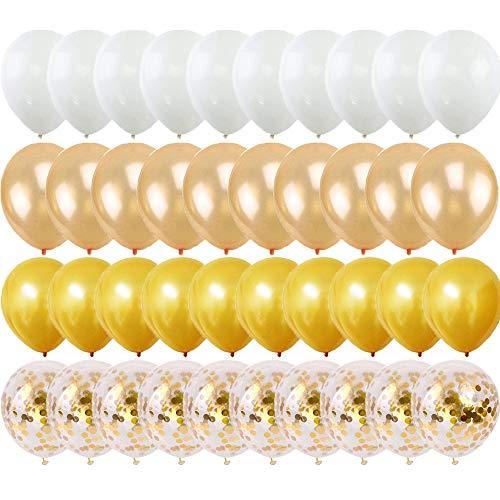 TOPHOPE Luftballon Gold Set 82 Stück, Konfetti Luftballons & Latex Ballons mit Bändern für Geburtstag, Hochzeit, Babyparty, Dekoration, Geschäftstätigkeit (12 Zoll/30cm)