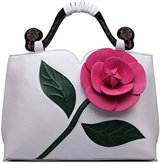 Trendy Ladies Classical Rose Big Flower Tote Ethnic Wind Tote Retro Dinner Tote Zgywmz (Color : White, Size : 35 * 12 * 25cm)