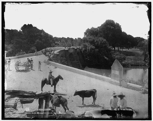 INFINITE PHOTOGRAPHS Photo: Old Bridge,Livestock,Cattle,Cowboys,Paths,Roads,Tula de Allende,Mexico,1880