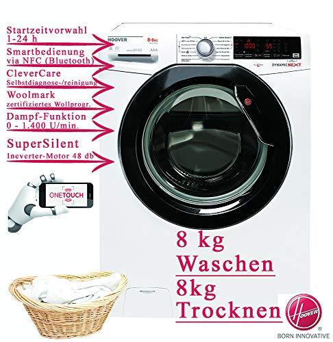 Hoover Waschtrockner 8kg Waschmaschine 8kg Wäschetrockner 1400 U/Min, OneTouch, Inverter Motor, Dampf-Funktion