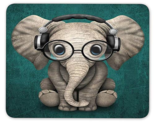 Personalized Rectangle Mouse Pad, Printed Cute Elephant Pattern, Non-Slip Rubber Comfortable Customized Computer Mouse Pad (9.45x7.87inch)
