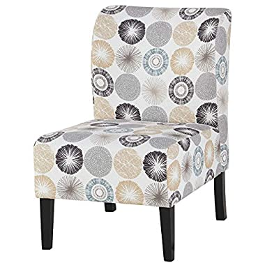 Signature Design by Ashley Triptis Casual Armless Accent Chair, Cream with Sunburst Pattern