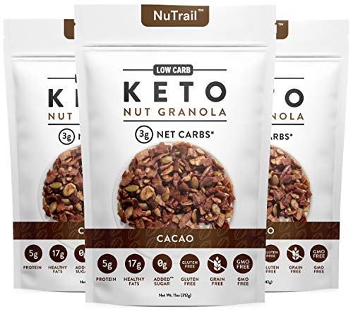 NuTrail™ - Keto Cacao Nut Granola Healthy Breakfast Cereal - Low Carb Snacks & Food - 3g Net Carbs - Almonds, Pecans, Coconut and more (11 oz) (1 Count)