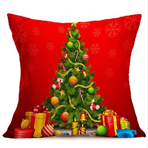 UNKONW Dreamlulu Funda de Almohada con patrón de árbol de Navidad, Tema de Navidad, Funda de Almohada, Suministros para Fiestas de Vacaciones