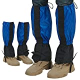 SOUNOVA Waterproof Leg Gaiters 2 Pair Outdoor Hiking Hunting Men Women and Boys Grils, Protection for Lower Legs, Anti-Tear Oxford Cloth (Blue)