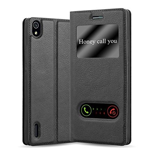 Cadorabo Hülle für Huawei P7 in KOMETEN SCHWARZ – Handyhülle mit Magnetverschluss, Standfunktion & 2 Sichtfenstern – Hülle Cover Schutzhülle Etui Tasche Book Klapp Style