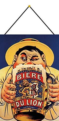 FS Bière du Lion Blechschild Schild gewölbt Metal Sign 20 x 30 cm mit Kordel