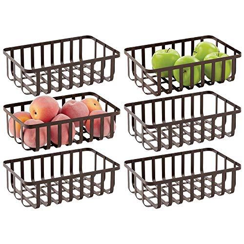 mDesign Farmhouse Aufbewahrungskorb aus Metall, für Küchenschränke oder Speisekammer, zum Aufbewahren von Obst, Snacks, Müsli, Backzubehör, Pasta, Packungen, 6 Stück, Bronze